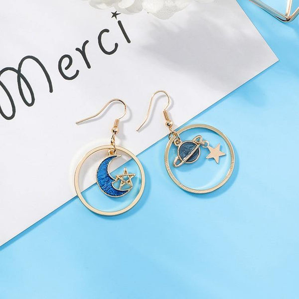 Blue Moon Star Earth Planet Drop Hook Earrings for Woman Girls