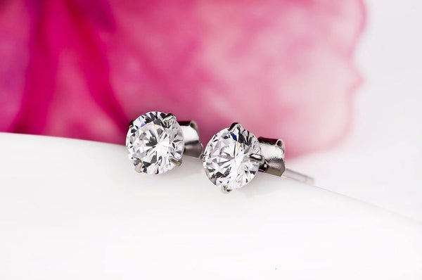 Real 925 Sterling Silver Stud Earrings Channel Cubic Zirconia
