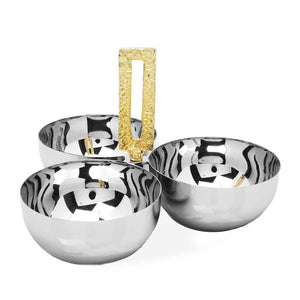 3 Bowl Relish Dish with Loop Handle