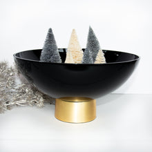Load image into Gallery viewer, Tina Black Glass Bowl on Gold Base