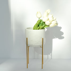White marble vase/planter with stand
