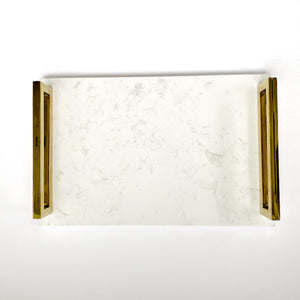 Lana Tray in white marble and brass gold handles