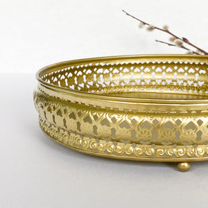 Gold cake plate with glass dome