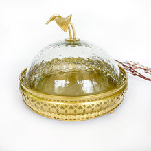 Load image into Gallery viewer, Gold cake plate with glass dome