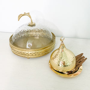 Gold Cake Plate with Dome