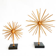 Load image into Gallery viewer, Ella Starburst Brass Sculpture with black marble stand