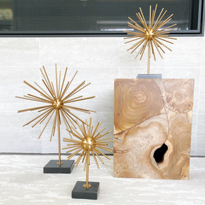 Ella Starburst Brass Sculpture with black marble stand