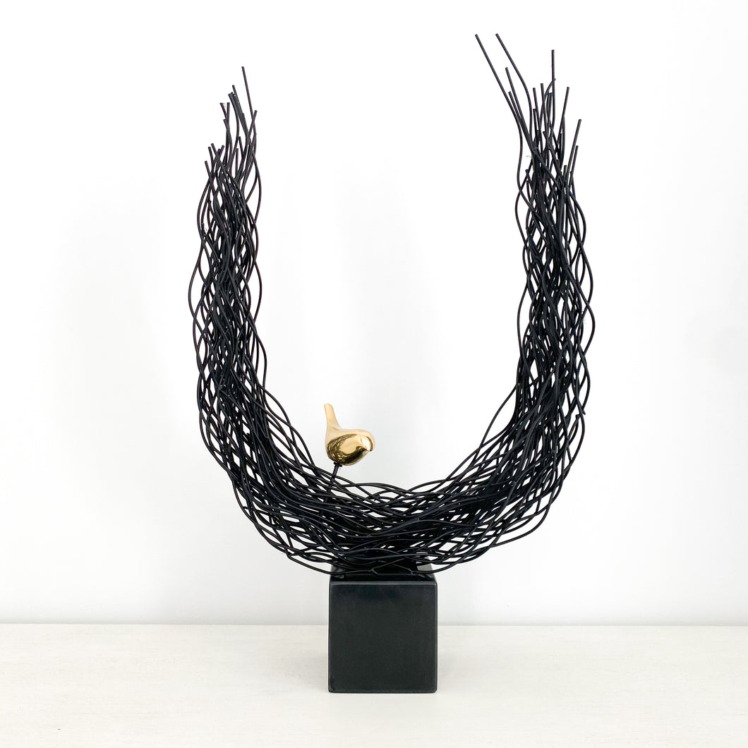 Sienna Bird on Nest Sculpture