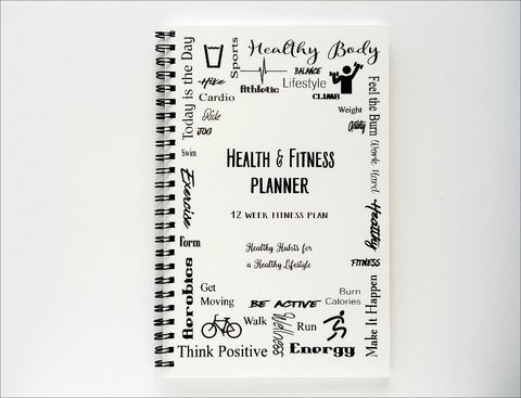 Health & Fitness Planner - 12 Week Fitness Journal - BLACK