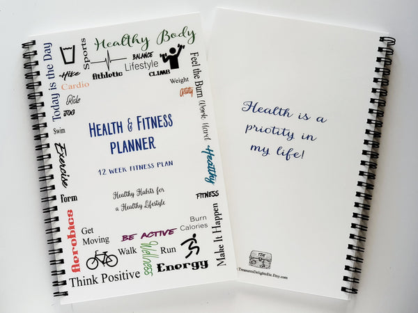 Health & Fitness Planner - 12 Week Fitness Journal - COLOR