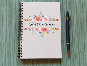 Personalized Notebook: Floral Border