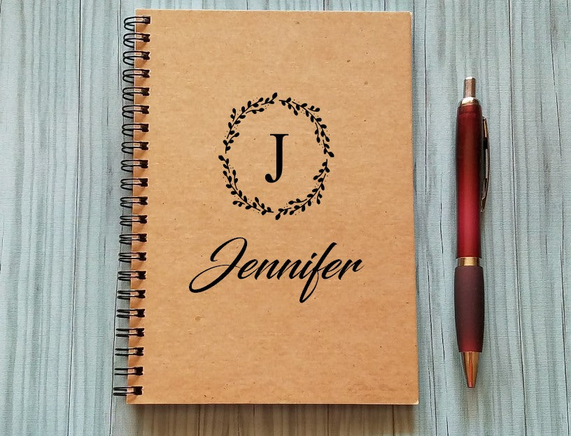 Personalized Notebook: Name & Initial (Wreath)