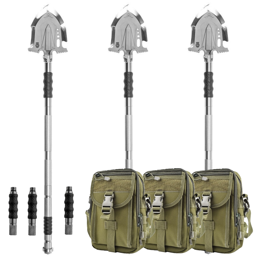 F-A3 Tactical Shovel w/Military Pouch and Handle Extension 3 Pack