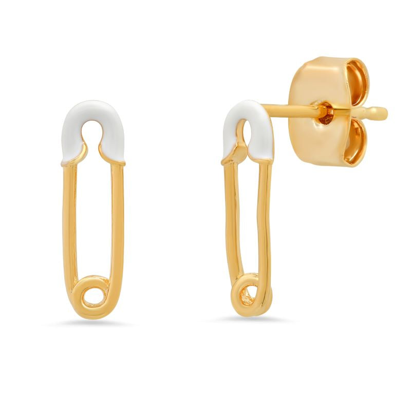 tai safety pin white gold stud earring