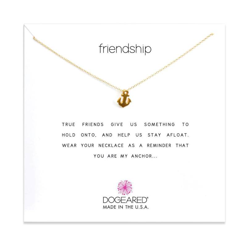dogeared frienship anchor gold necklace