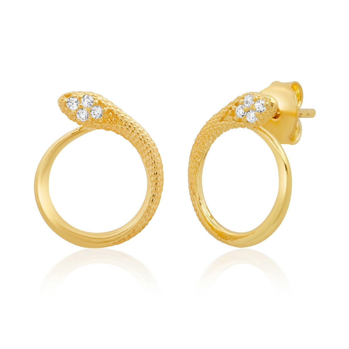 Snake Open Circle Stud Earring