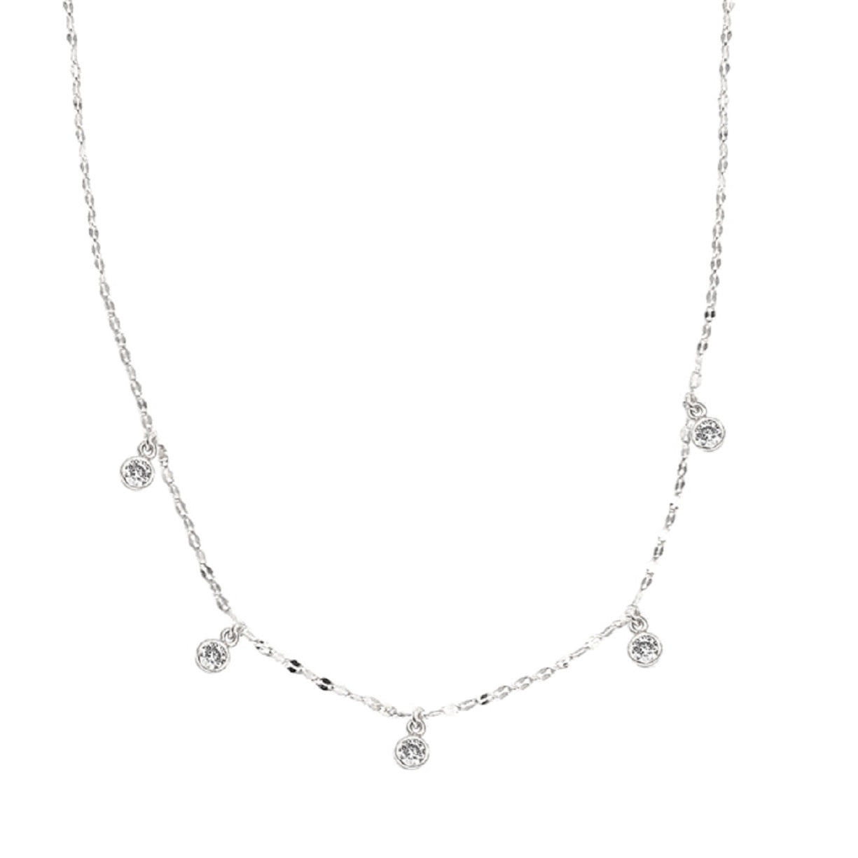 CZ Five Charm Necklace