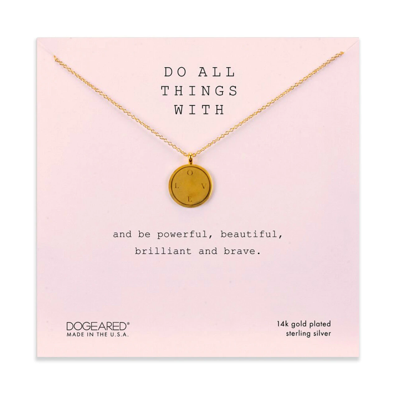 dogeared do all things with love disc gold necklace
