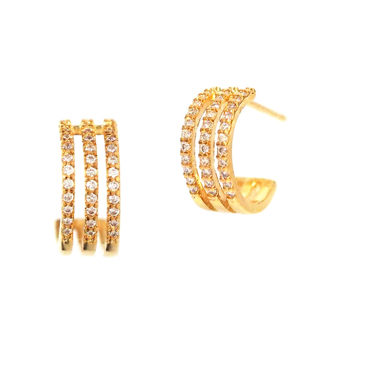 Three Strand Open Hoop Earring