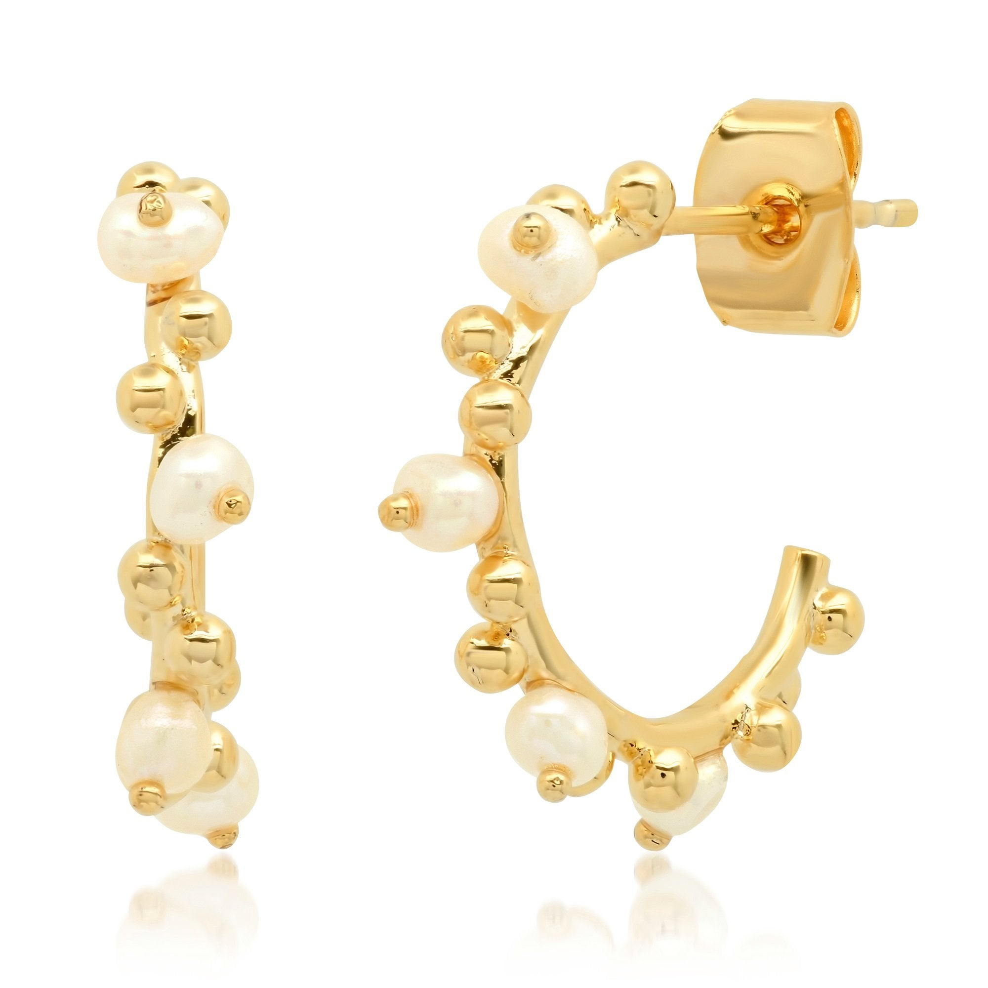 Pearl and Gold Ball Mini Hoop Earring