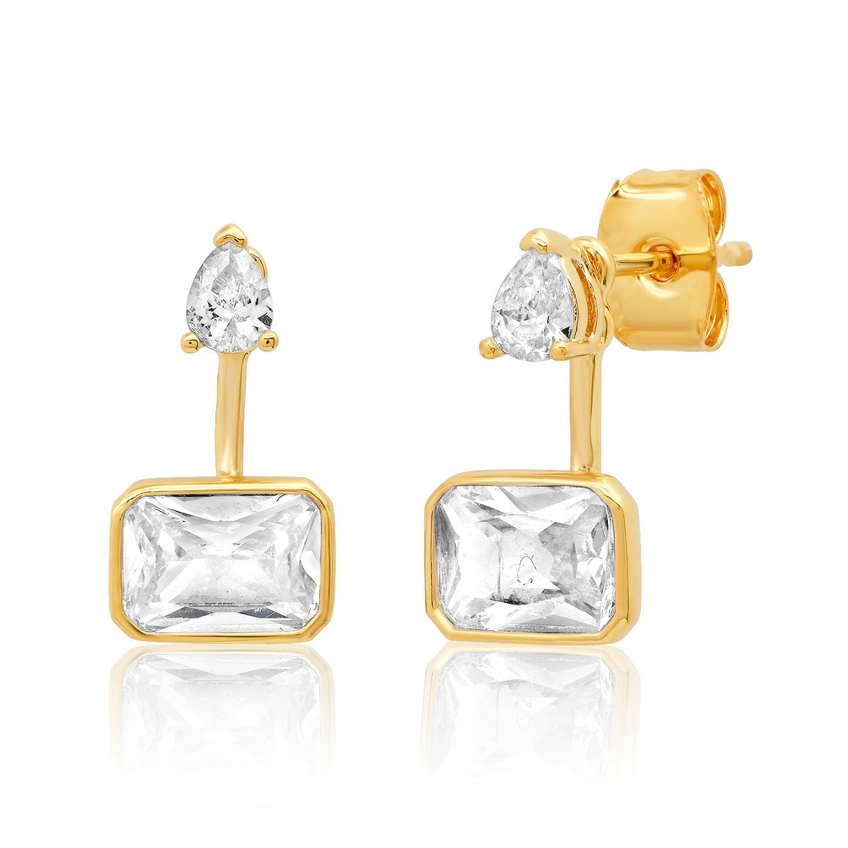 Pear and Emerald Cut Ear Jackets