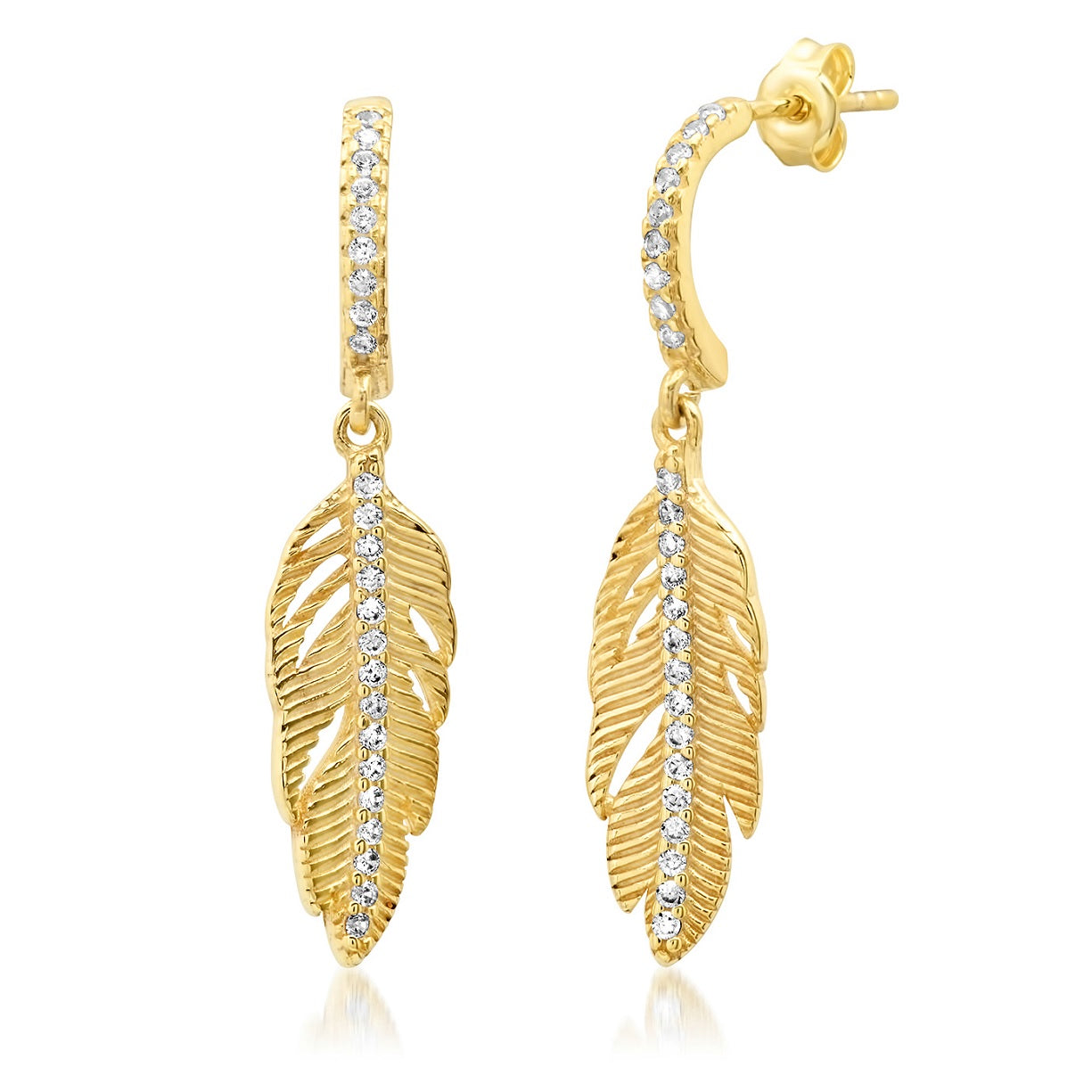 Pave Feather Earring