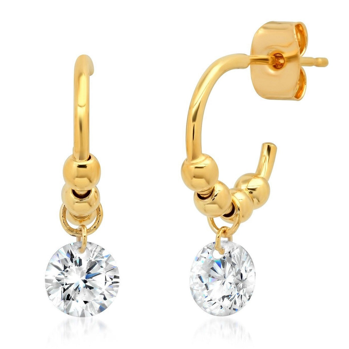 Floating Gold Ball Huggie Earring