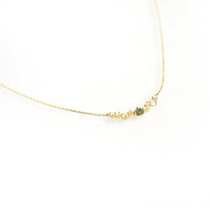 Multi Stone Cluster Bar Necklace