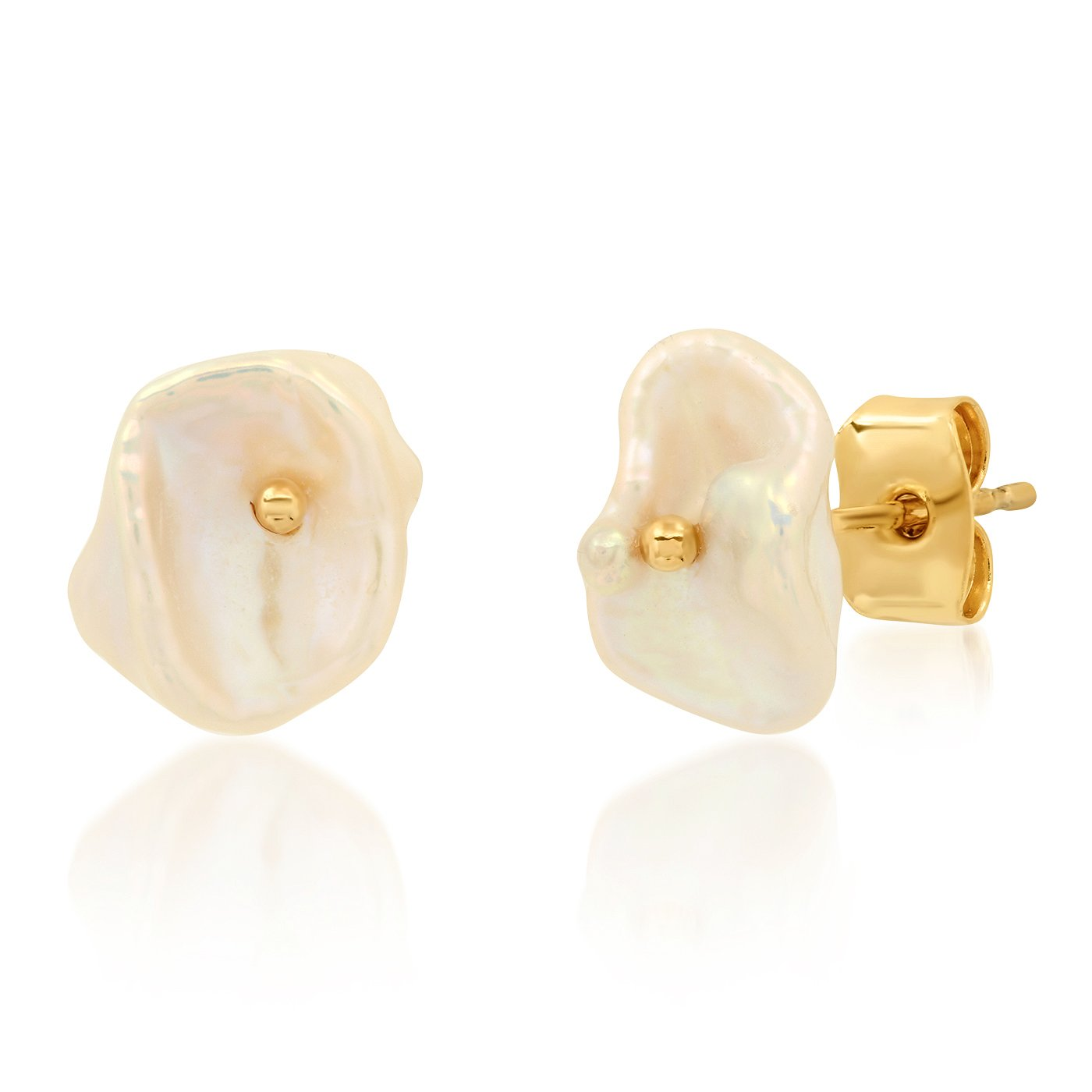 Baroque Pearl Stud with Gold Accent Earring