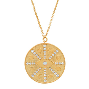 Gold Coin Eye Necklace