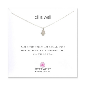 dogeared all is well hamsa silver necklace