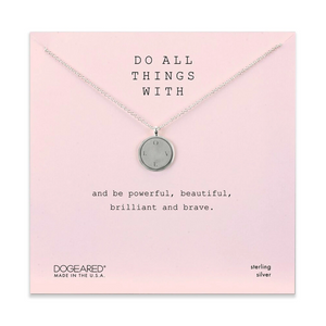 dogeared do all things with love disc silver necklace