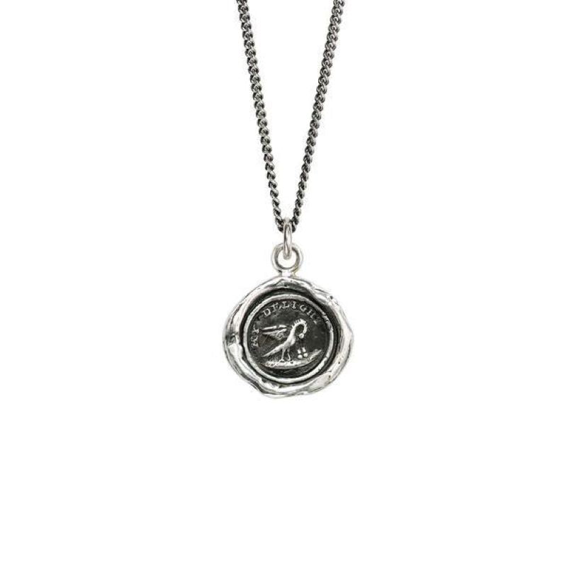 pyrrha my delight bird silver necklace