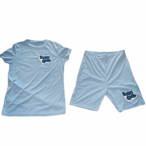 Women's FGLB Custom Light Blue Two-piece Shorts Set