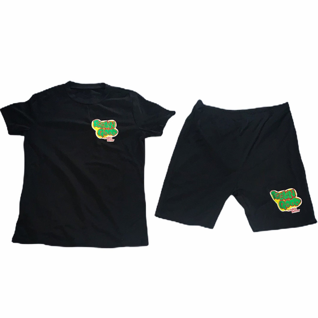 Women's Customized Black Two-piece Shorts Set