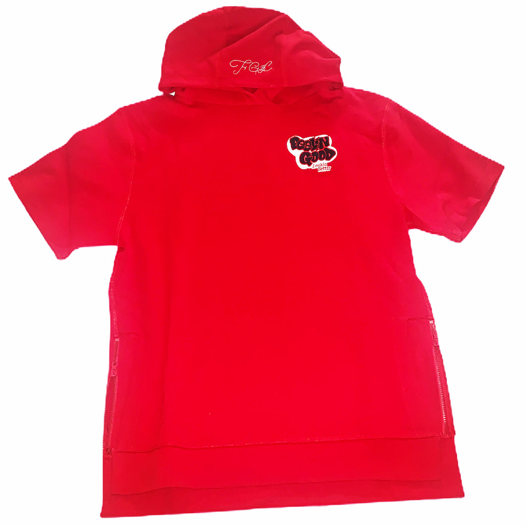 Men's Red Short Sleeve Side Zipper Hoodie