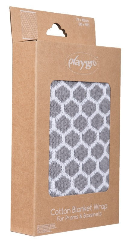 Playgro Knitted Honeycomb Blanket - Grey (76x102cm) | nappycakes-mt | Single Item.