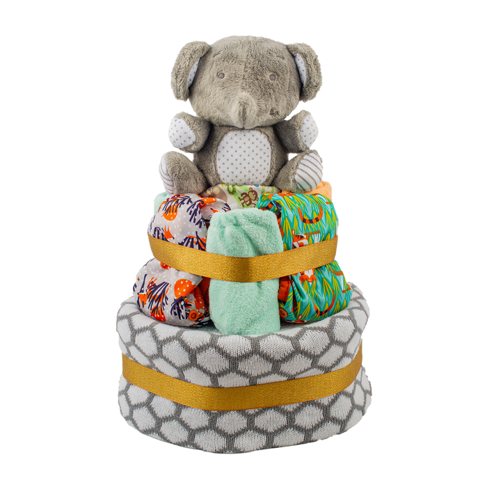 Starter Cloth Nappy Cake - Multi-Coloured Close Parent