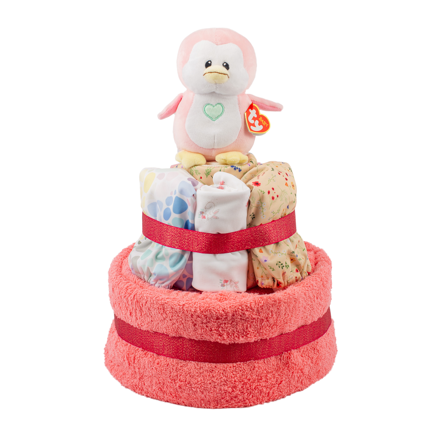Starter Cloth Nappy Cake - Pink Baba & Boo/Little Lamb
