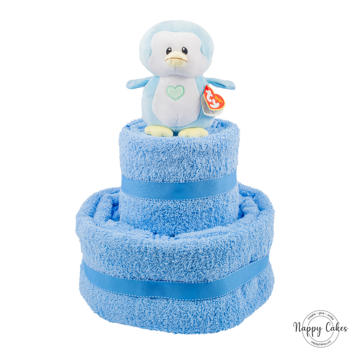 2-Tier Blue Towel Cake.