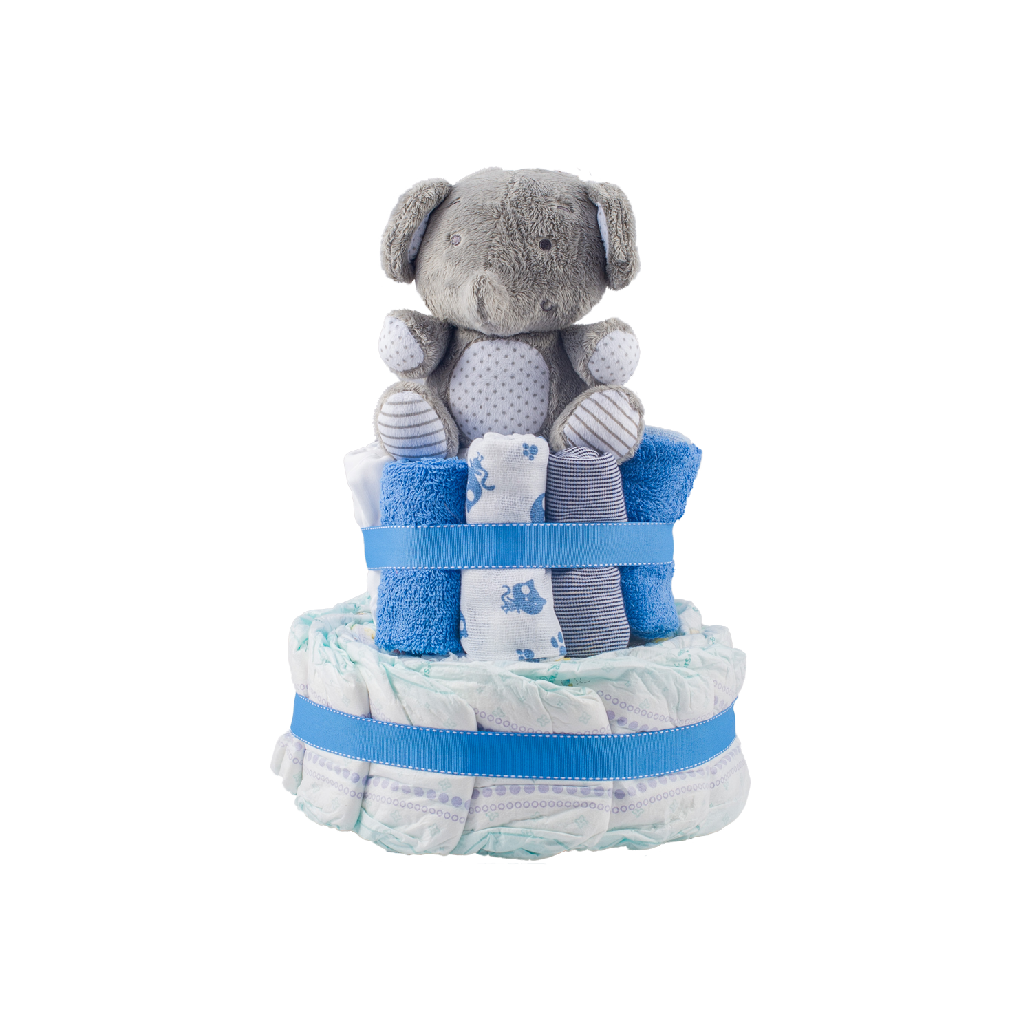 Stylish 2-Tier Blue Nappy Cake