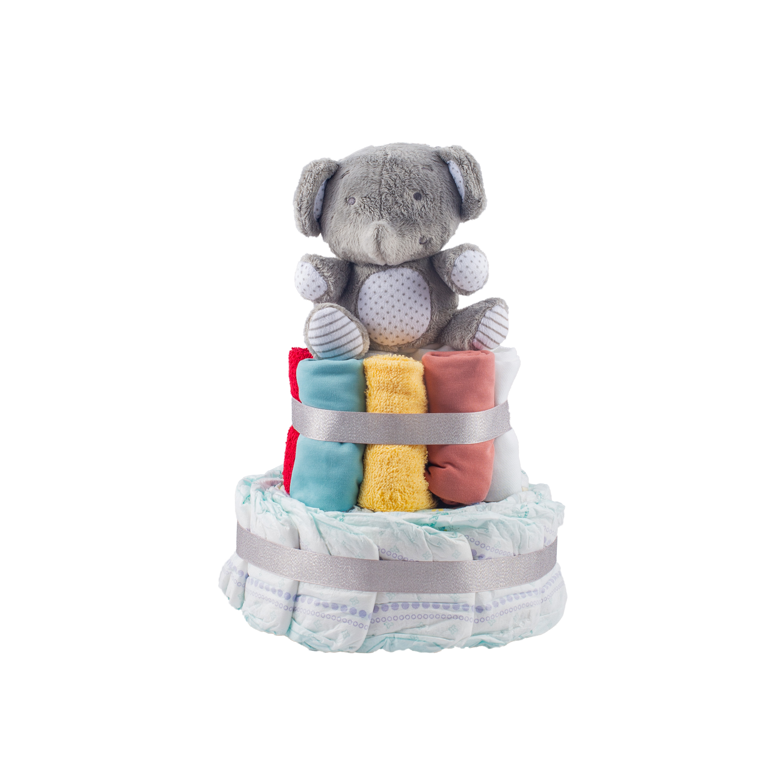 Stylish 2-Tier Multi-Coloured Nappy Cake