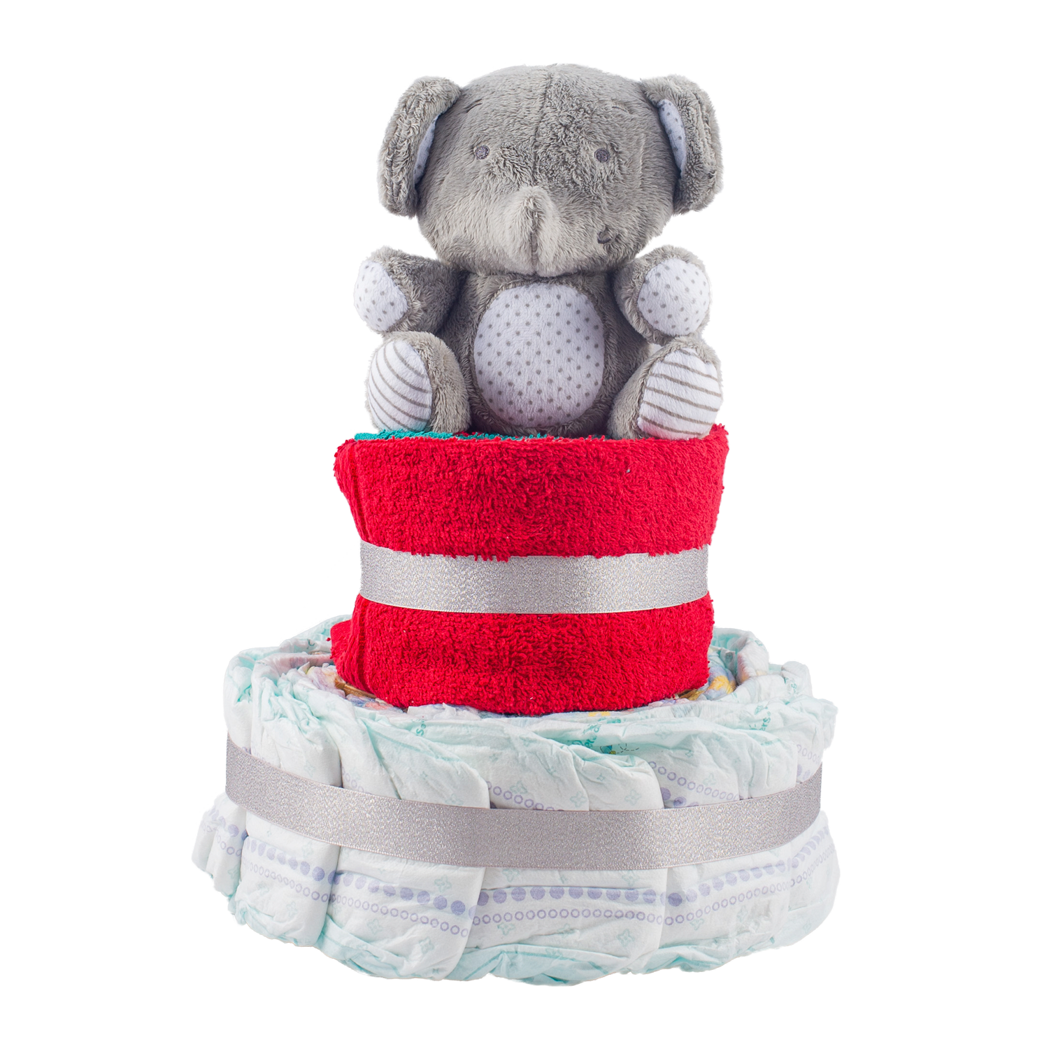 Personalised 2-Tier Multi-Coloured Nappy Cake