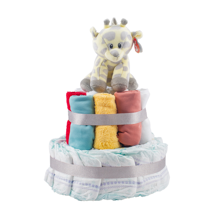 Stylish 2-Tier Multi-Coloured Nappy Cake.