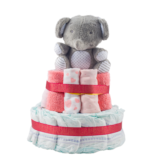 Stylish 2-Tier Pink Nappy Cake