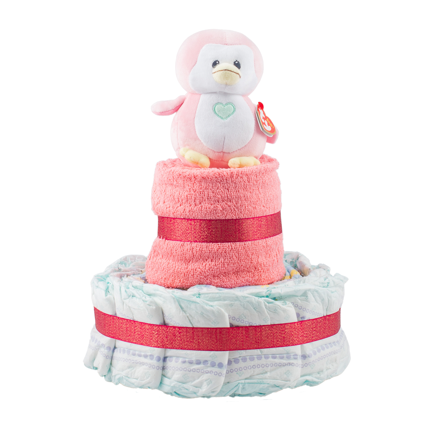 Personalised 2-Tier Pink Nappy Cake