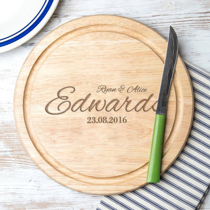 Personalised Couples Round Chopping Board (3 lines) | nappycakes-mt | Personalised Gift Items.