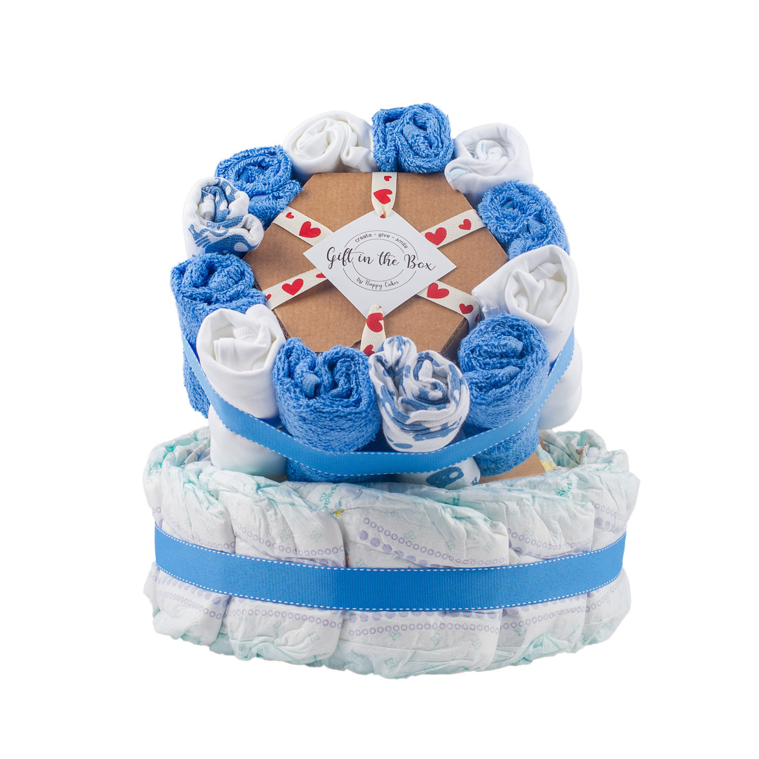 Personalised 3-Tier Blue Nappy Cake