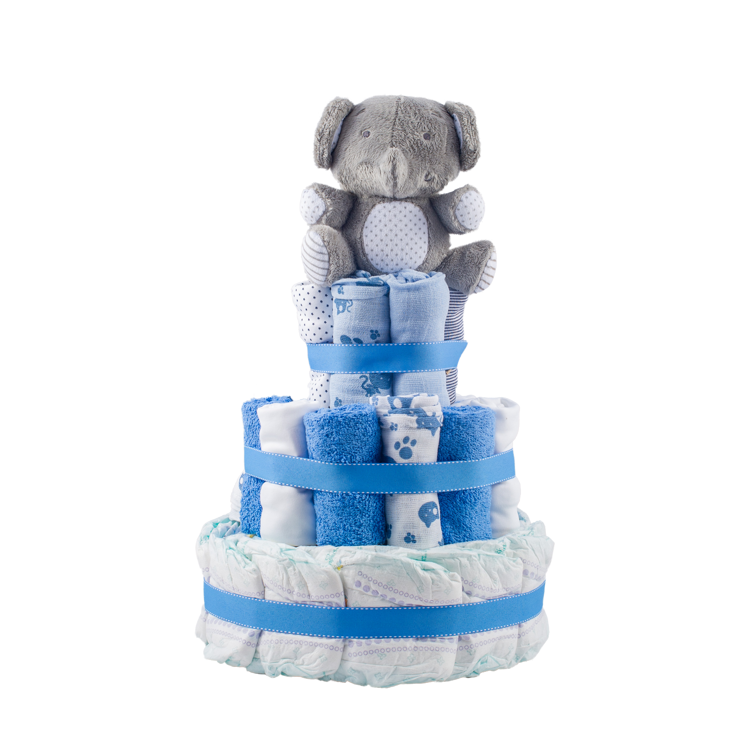 Stylish 3-Tier Blue Nappy Cake