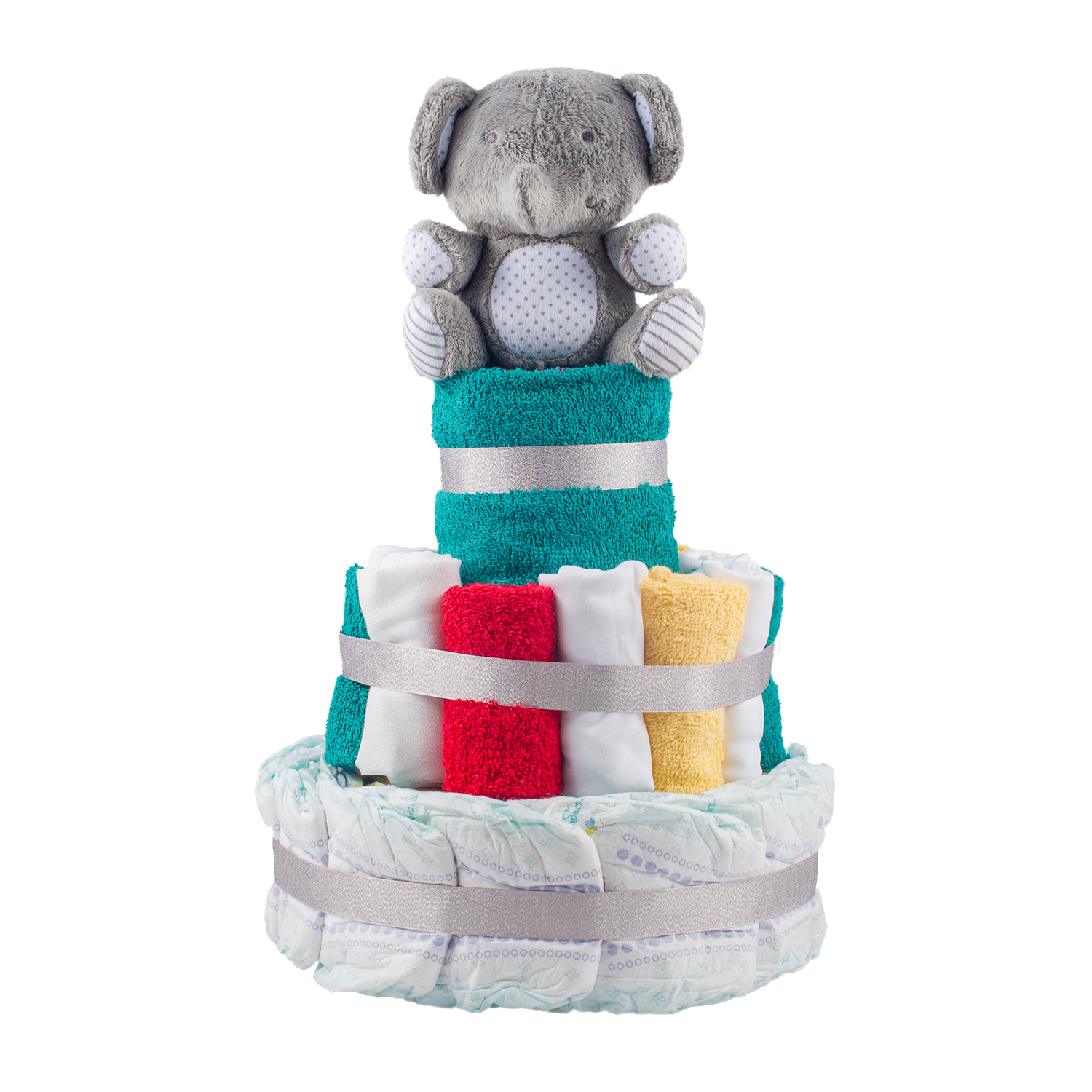 Personalised 3-Tier Multi-Coloured Nappy Cake